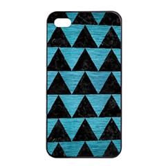 Triangle2 Black Marble & Teal Brushed Metal Apple Iphone 4/4s Seamless Case (black) by trendistuff
