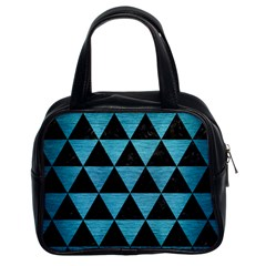 Triangle3 Black Marble & Teal Brushed Metal Classic Handbags (2 Sides) by trendistuff
