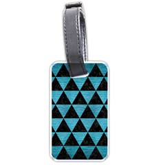 Triangle3 Black Marble & Teal Brushed Metal Luggage Tags (one Side)  by trendistuff