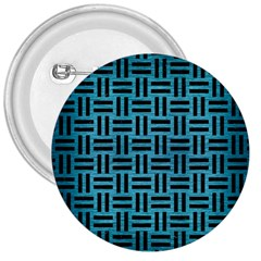 Woven1 Black Marble & Teal Brushed Metal 3  Buttons by trendistuff