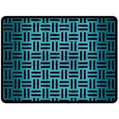 Woven1 Black Marble & Teal Brushed Metal Double Sided Fleece Blanket (large)  by trendistuff
