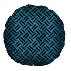 Woven2 Black Marble & Teal Brushed Metal Large 18  Premium Round Cushions by trendistuff