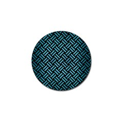 Woven2 Black Marble & Teal Brushed Metal (r) Golf Ball Marker (10 Pack) by trendistuff