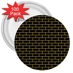Brick1 Black Marble & Yellow Denim (r) 3  Buttons (100 Pack)  by trendistuff