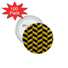 Chevron1 Black Marble & Yellow Denim 1 75  Buttons (100 Pack)  by trendistuff