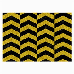 Chevron2 Black Marble & Yellow Denim Large Glasses Cloth (2 Side) by trendistuff