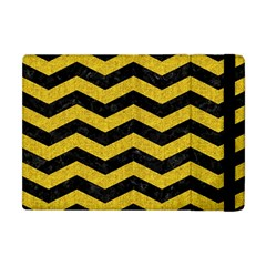 Chevron3 Black Marble & Yellow Denim Apple Ipad Mini Flip Case by trendistuff