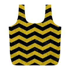 Chevron3 Black Marble & Yellow Denim Full Print Recycle Bags (l)  by trendistuff
