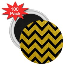 Chevron9 Black Marble & Yellow Denim 2 25  Magnets (100 Pack)  by trendistuff