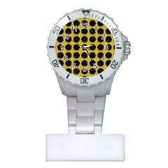 Circles1 Black Marble & Yellow Denim Plastic Nurses Watch by trendistuff