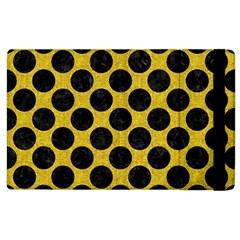 Circles2 Black Marble & Yellow Denim Apple Ipad 2 Flip Case by trendistuff