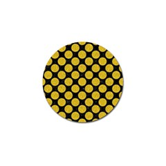 Circles2 Black Marble & Yellow Denim (r) Golf Ball Marker (4 Pack) by trendistuff