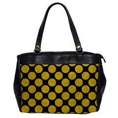 Circles2 Black Marble & Yellow Denim (r) Office Handbags by trendistuff