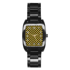 Circles3 Black Marble & Yellow Denim (r) Stainless Steel Barrel Watch by trendistuff
