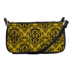 Damask1 Black Marble & Yellow Denim Shoulder Clutch Bags by trendistuff