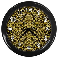Damask2 Black Marble & Yellow Denim (r) Wall Clocks (black) by trendistuff