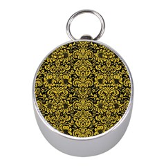 Damask2 Black Marble & Yellow Denim (r) Mini Silver Compasses by trendistuff