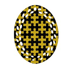 Puzzle1 Black Marble & Yellow Denim Oval Filigree Ornament (two Sides) by trendistuff