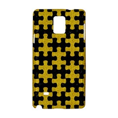 Puzzle1 Black Marble & Yellow Denim Samsung Galaxy Note 4 Hardshell Case by trendistuff