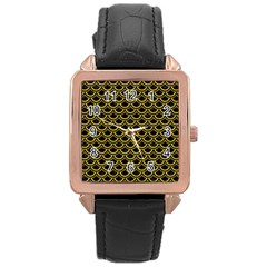 Scales2 Black Marble & Yellow Denim (r) Rose Gold Leather Watch  by trendistuff