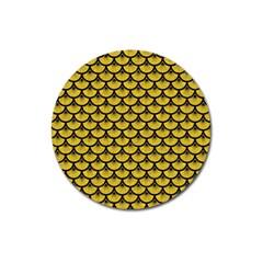 Scales3 Black Marble & Yellow Denim Magnet 3  (round) by trendistuff