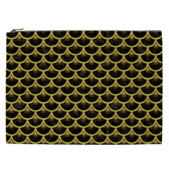 Scales3 Black Marble & Yellow Denim (r) Cosmetic Bag (xxl)  by trendistuff