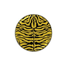 Skin2 Black Marble & Yellow Denim Hat Clip Ball Marker (4 Pack) by trendistuff
