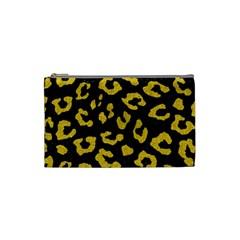 Skin5 Black Marble & Yellow Denim Cosmetic Bag (small)  by trendistuff