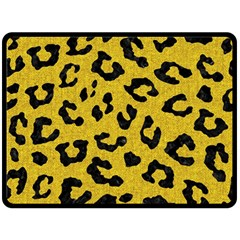 Skin5 Black Marble & Yellow Denim (r) Fleece Blanket (large)  by trendistuff