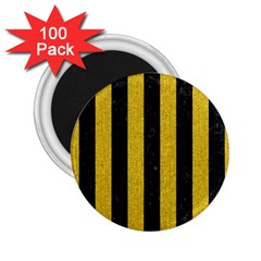Stripes1 Black Marble & Yellow Denim 2 25  Magnets (100 Pack)  by trendistuff