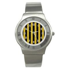 Stripes1 Black Marble & Yellow Denim Stainless Steel Watch by trendistuff