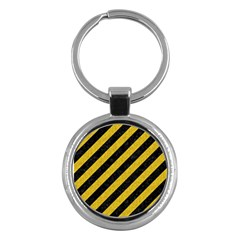 Stripes3 Black Marble & Yellow Denim (r) Key Chains (round)  by trendistuff