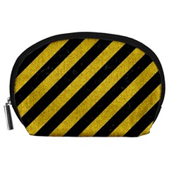 Stripes3 Black Marble & Yellow Denim (r) Accessory Pouches (large)  by trendistuff