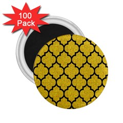 Tile1 Black Marble & Yellow Denim 2 25  Magnets (100 Pack)  by trendistuff