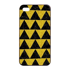 Triangle2 Black Marble & Yellow Denim Apple Iphone 4/4s Seamless Case (black) by trendistuff