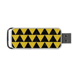 Triangle2 Black Marble & Yellow Denim Portable Usb Flash (two Sides) by trendistuff