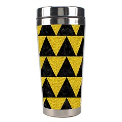 Triangle2 Black Marble & Yellow Denim Stainless Steel Travel Tumblers by trendistuff