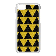 Triangle2 Black Marble & Yellow Denim Apple Iphone 7 Seamless Case (white) by trendistuff