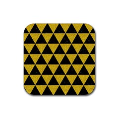 Triangle3 Black Marble & Yellow Denim Rubber Square Coaster (4 Pack)  by trendistuff
