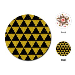 Triangle3 Black Marble & Yellow Denim Playing Cards (round)  by trendistuff