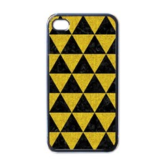 Triangle3 Black Marble & Yellow Denim Apple Iphone 4 Case (black) by trendistuff