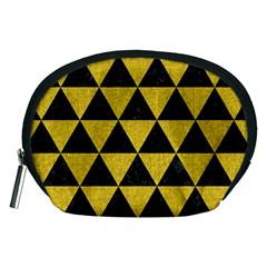 Triangle3 Black Marble & Yellow Denim Accessory Pouches (medium)  by trendistuff