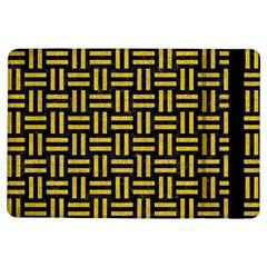 Woven1 Black Marble & Yellow Denim (r) Ipad Air Flip by trendistuff
