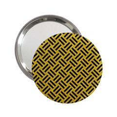 Woven2 Black Marble & Yellow Denim 2 25  Handbag Mirrors by trendistuff
