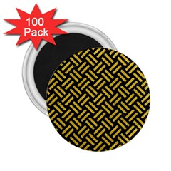 Woven2 Black Marble & Yellow Denim (r) 2 25  Magnets (100 Pack)  by trendistuff