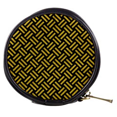 Woven2 Black Marble & Yellow Denim (r) Mini Makeup Bags by trendistuff