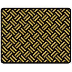 Woven2 Black Marble & Yellow Denim (r) Fleece Blanket (medium)  by trendistuff