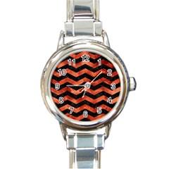 Chevron3 Black Marble & Copper Paint Round Italian Charm Watch by trendistuff