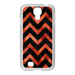 Chevron9 Black Marble & Copper Paint (r) Samsung Galaxy S4 I9500/ I9505 Case (white) by trendistuff