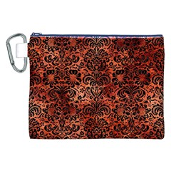 Damask2 Black Marble & Copper Paint Canvas Cosmetic Bag (xxl) by trendistuff